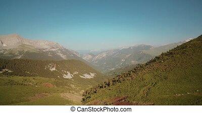 Aerial, Pyrenees Landscape Around Mirador Puerto De Sahun -...
