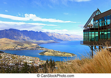 Aerial Queenstown New Zealand - Cityscape of queenstown with...