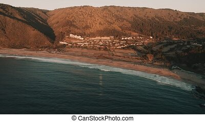 Aerial, Quintay Beach At Sunset, Chile - cine version - This...
