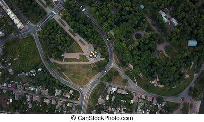 Aerial recording of Chernihiv cityscape - Great green...