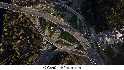 Aerial recording of Kyiv cityscape - Major roadway system...