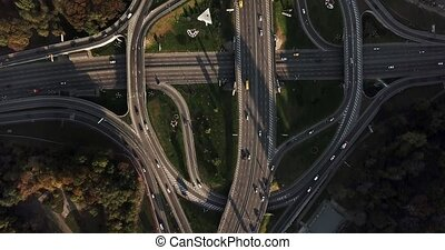 Aerial recording of Kyiv cityscape - Roadway system with a...