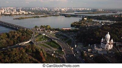 Aerial recording of Kyiv cityscape - Sunny cityscape of Kyiv...
