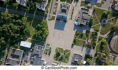 Aerial recording of Slavutych cityscape - Green cityscape of...