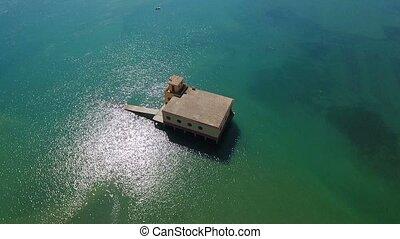 Aerial. Relief station in Ria Formosa Fuseta. Tavira -...