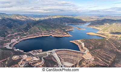 Aerial. Reservoir dam Odelouca of drinking water in the Algarve region of Portugal.