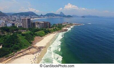Aerial: Rio de Janeiro and the Atlantic Ocean. Shevelev. -...