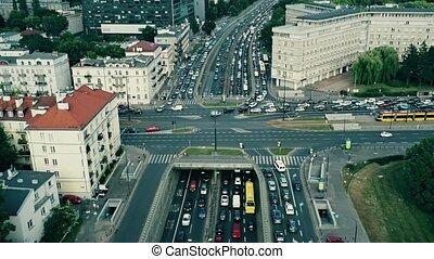 Aerial rising shot of big traffic jam in the city - Aerial...