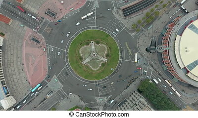 Aerial rising shot of Plaza de Espana in Barcelona, Spain.