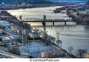 Aerial River View - Aerial view oaf the arkansas river at ...
