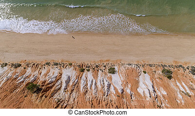 Aerial rocks and cliffs seascape shore view of famous ...