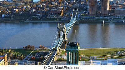 Aerial Roebling Bridge and Ohio River in Cincinnati