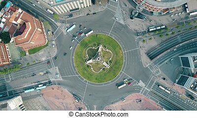 Aerial rotating shot of Plaza de España in Barcelona, Spain...