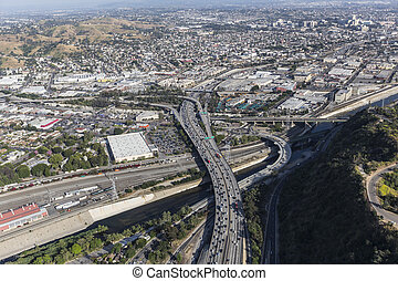 Aerial Route 5 Freeway and the Los Angeles River