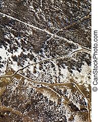 Aerial rural Colorado. - Aerial view of snow covered rural...