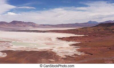 Aerial, Salar De Aguas Calientes, Piedras Rojas, Chile -...