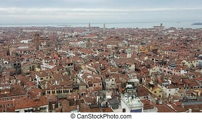 Aerial San Marco Plaza in Venice, Italy - Aerial view of ...