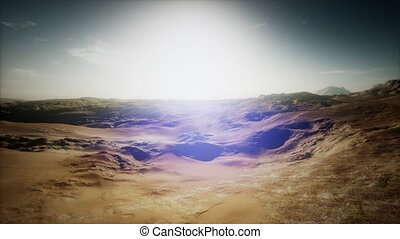 aerial sand desert at sunset
