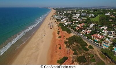aerial. Sandy coasts Beaches for rest of tourists Vale de Lobo.