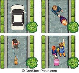 Aerial scene of people on the street