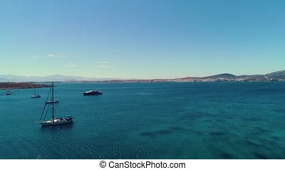 Aerial seascape from Paros island