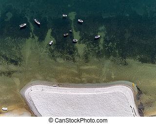 Aerial seascape top down view over Cavacos beach, in Ria...