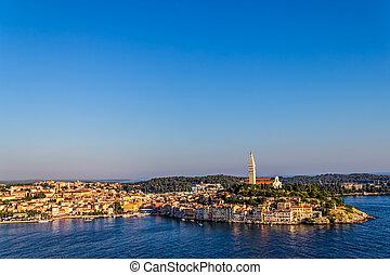 Aerial shoot of Rovinj, Croatia - Aerial shoot of Old town...
