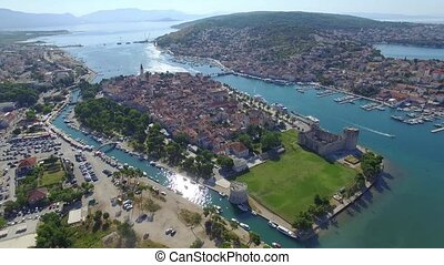 Aerial shoot of Trogir old town. Croatian tourist...
