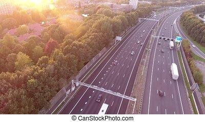 Aerial shoot of zwijndrecht A16 highway, sunset, Netherlands