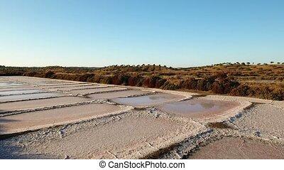 Aerial. Shooting the drone, salt marshes near Vila Real...