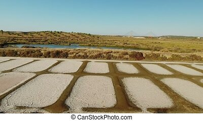 Aerial. Shooting the drone, the salt marshes near Vila Real...