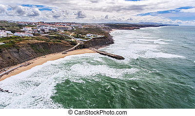 Aerial. Shores and beaches of the village Ericeira Lisbon.
