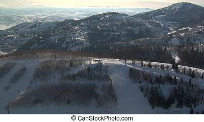 aerial shot a deer Valley resort Utah
