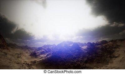 aerial shot above desert canyon