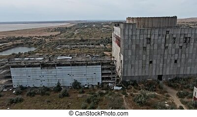 AERIAL SHOT CRIMEA near SHELKINO city AUGUST 2019 Old abandoned atomic power station from soviet union times Sphinx