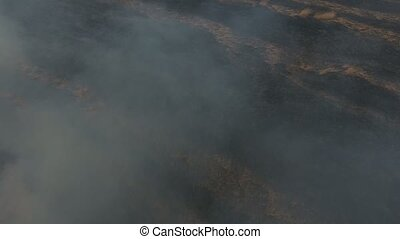 Aerial shot od burnt and black, smoked and dead Dnipro basin...