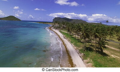 Aerial shot of a beautiful beach