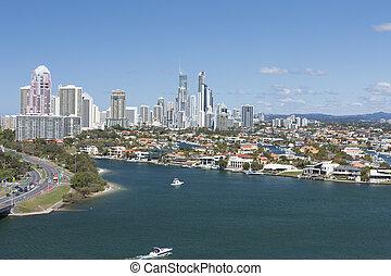 Aerial shot of a beautiful coastal city