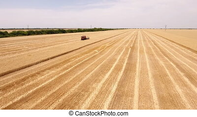 Aerial shot of a big combine harvester finishing reaping...