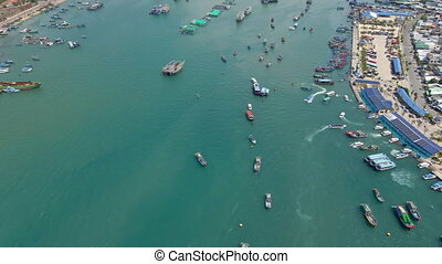 Aerial shot of a busy Nha Trang harbor. Travel to Vietnam concept