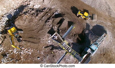 Aerial shot of a construction site - An aerial shot of...
