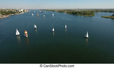 Aerial shot of a dozen of luxurious yachts sailing in the Dnipro in summer