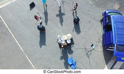 Aerial shot of a girld band