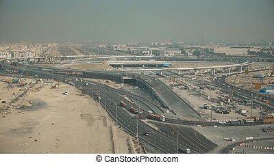Aerial shot of a highway interchange construction. Dubai, United Arab Emirates UAE