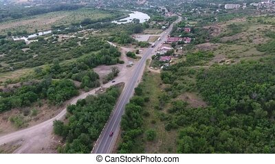 Aerial shot of a highway with intersections in the Dnipro...