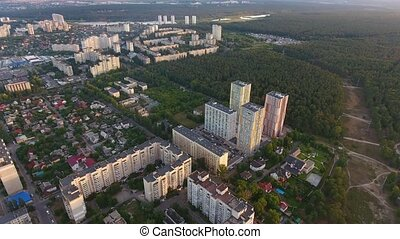 Aerial shot of a housing estate with high apartment blocks in Kiev on sunny day
