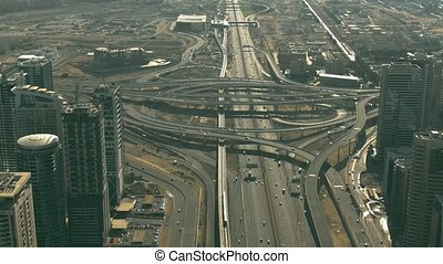 Aerial shot of a major circular road intersection - Aerial ...