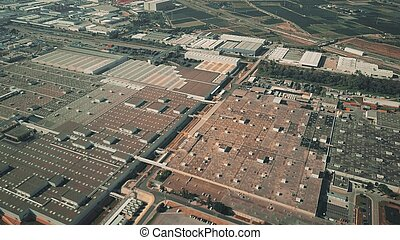 Aerial shot of a modern car factory