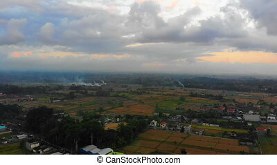 Aerial shot of a rural area in the Ubud village on the Bali island