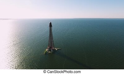 Aerial shot of a sky-high beacon on the Black Sea shoal in...